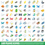 100 plane icons set, isometric 3d style Royalty Free Stock Photography