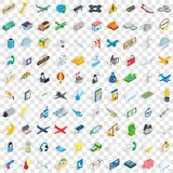 100 plane icons set, isometric 3d style Royalty Free Stock Photo