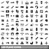 100 plane icons set, simple style Stock Images