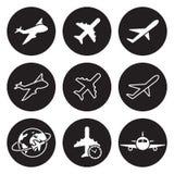 Plane icons set. White on a black background Royalty Free Stock Photo