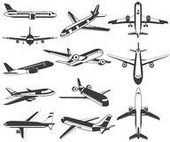 Plane icons. St of 12 plane icons stock illustration