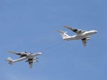 Plane Il-78 Tu-95MC runs fuel Stock Photo