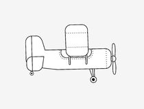Plane illustration. Illustration of old propeller plane isolated on white Royalty Free Stock Photography