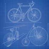 Plane illustration in blue print style. Royalty Free Stock Photo