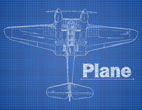 Plane illustration in blue print style. Stock Image