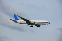 Plane Inflight. Commercial airplane approaching the runway royalty free stock photography