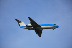 Plane Inflight. Commercial airplane approaching the runway stock photography