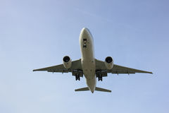 Plane Inflight. Commercial airplane approaching the runway stock photos