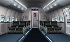 Plane interior. Illustration of a plane interior with emergency exit Royalty Free Stock Image
