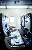 Plane interior seats Royalty Free Stock Photos
