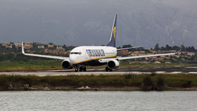 Plane at Ioannis Kapodistrias airport , Corfu , Greece Royalty Free Stock Photos