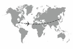 The plane and its track on the world map. Travel to World. Hand drawn plane and its track on the world map. The airplane is in a d royalty free illustration