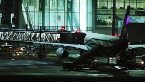 Plane at terminal gate, night view, Munich. Plane jet in Munich Airport, night view. Plane waiting passenger onboarding stock video footage