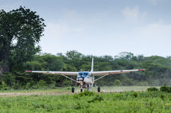 Plane just landed in the bush Tanzania Royalty Free Stock Images