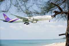 The plane landed airport beachfront landscape. Stock Photography