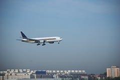 Plane landing Stock Image