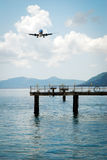 Plane landing. Plane during landing approach on Corfu Island in Greece Royalty Free Stock Images