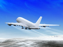 Plane is landing away Stock Photography