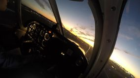 Plane landing from cockpit stock video