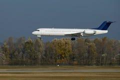 Plane landing. Crosswind landing of a plane Stock Photo