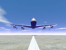 Plane landing - 3D render Stock Photography