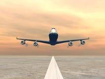 Plane landing - 3D render Stock Image