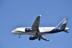 A plane is landing. Royalty Free Stock Photo