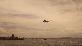 Rio de Janeiro, Brasil, January 29, 2017: Airplane landing on the Guanabara Bay royalty free stock photos