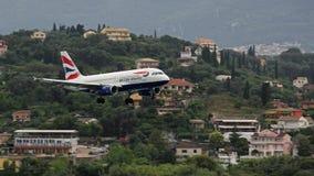 Plane landing at Ioannis Kapodistrias airport , Corfu , Greece Stock Photo
