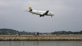 Plane landing at Ioannis Kapodistrias airport , Corfu , Greece Stock Image