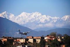 Plane Landing in Kathmandu Stock Image