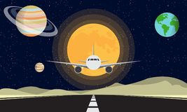Plane Landing In The Moon. Travel To The Moon. Travel to Universe. Plane Can Fly to The Galaxy. Galaxy Mission. Finding a New Life. Fantasy On Galaxy royalty free illustration