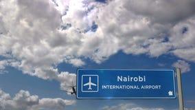 Plane landing in Nairobi