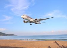 Airplane. The plane is landing at NaiYang beach Phuket Thailand. It's a good place to take a picture of the plane stock photography