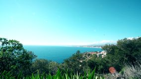 Plane landing in Nice airport cote d`azur. Sea and sun.