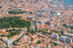 The air view of historic part of Lisbon. Lapa district. Lisbon. Portugal