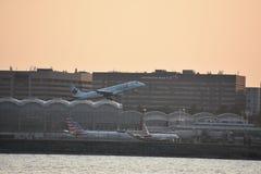 Plane landing at Ronald Reagan Airport in Washington, DC Royalty Free Stock Photography