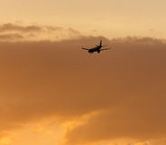 The plane is landing at sunset. The plane is landing at the yellow sunset royalty free stock photography