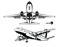 Plane landing, the view from the bottom and side Royalty Free Stock Photography
