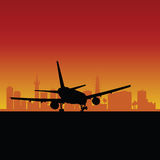 Plane lands color vector Royalty Free Stock Photo