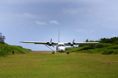 Plane lands at Mystery Island Royalty Free Stock Images