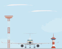 Plane, light tower  and control tower Royalty Free Stock Images