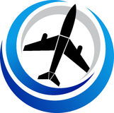 Plane logo. Illustration art of a plane logo with isolated background Royalty Free Stock Photography