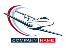 Plane Logo Design. Creative vector icon with plane and ellipse shape. Vector illustration. Royalty Free Stock Images