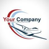 Plane Logo Design. Creative vector icon with plane and ellipse shape. Vector illustration. stock image