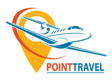 Plane Logo Design. Creative vector icon with plane and ellipse shape. Vector illustration. Stock Images