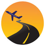 Plane logo. Illustration art of a airfield logo with isolated background Royalty Free Stock Photo