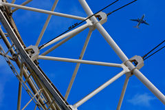 Plane, London Eye in London city  Stock Images