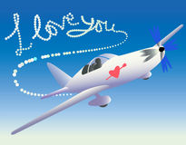 Plane with love trace. Stock Photography