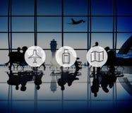 Plane Luggage Map Travel Trip Journey Concept stock photos